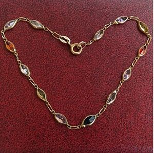 '70s VTG SOLID 14K Gold Multi GemStone Bracelet